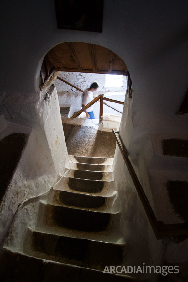 The stairs leading to the yard of the Prodromou Monastery. Arcadia, Peloponnese