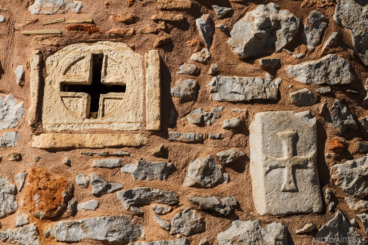 A church wall in Kotronas village. East Mani, Laconia, Peloponnese