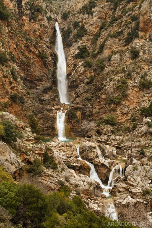 The Lepida Waterfalls created by Vrassiatis river. Kynouria, Arcadia, Peloponnese.