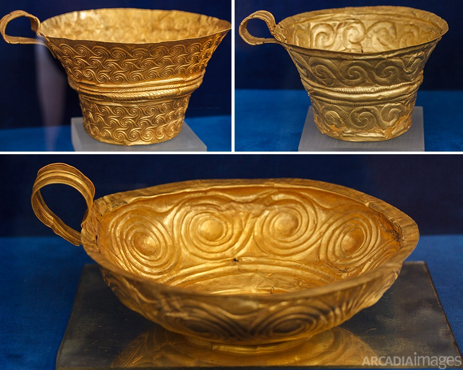 Golden cups with meander patterns, findings from Nestor's Palace. Archaeological Museum of Chora, Messenia