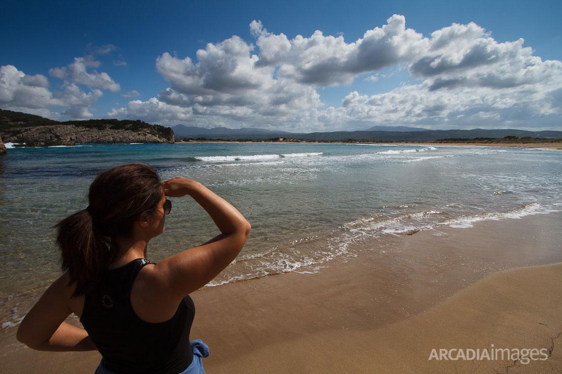Gazing at Voidokilia beach. Gialova, Messenia, Peloponnese