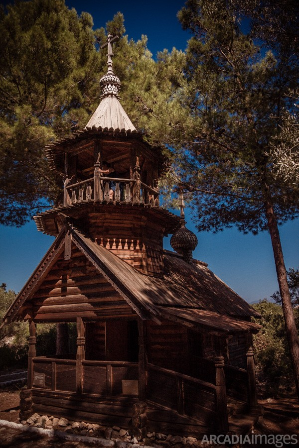 The wooden church of Aghios Nikolaos (Saint Nicholas) built in 1897 is a monument to the Russian fallen soldiers at the Battle of Navarino. Sphacteria island, Navarino Bay, Messenia