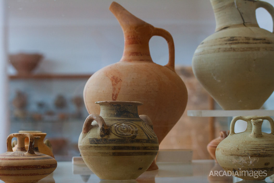 Clay containers of different sizes and shapes, findings from Nestor's Palace. Archaeological Museum of Chora, Messenia