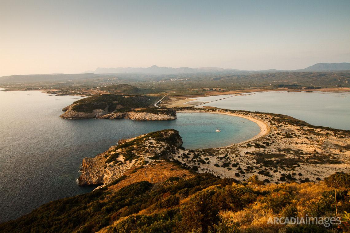 The stunning view from Paleokastro Castle to Voidokilia beach. Gialova, Messenia, Peloponnese