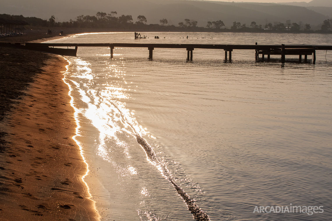 Gialova beach with its golden sand. Navarino Bay, Messenia, Peloponnese