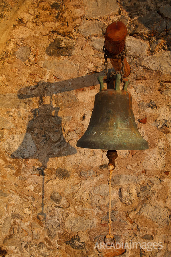 The bell of Saint George church, 13th AD inside the ruins of the old monastery at Cape Malea, Laconia, Peloponnese