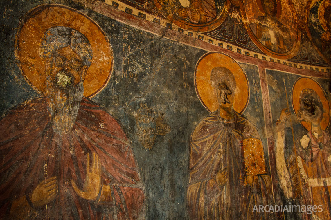 Vandalized frescos in Aghios Georgios (Saint George) church, 13th AD inside the ruins of the old monastery at Cape Malea, Laconia, Peloponnese