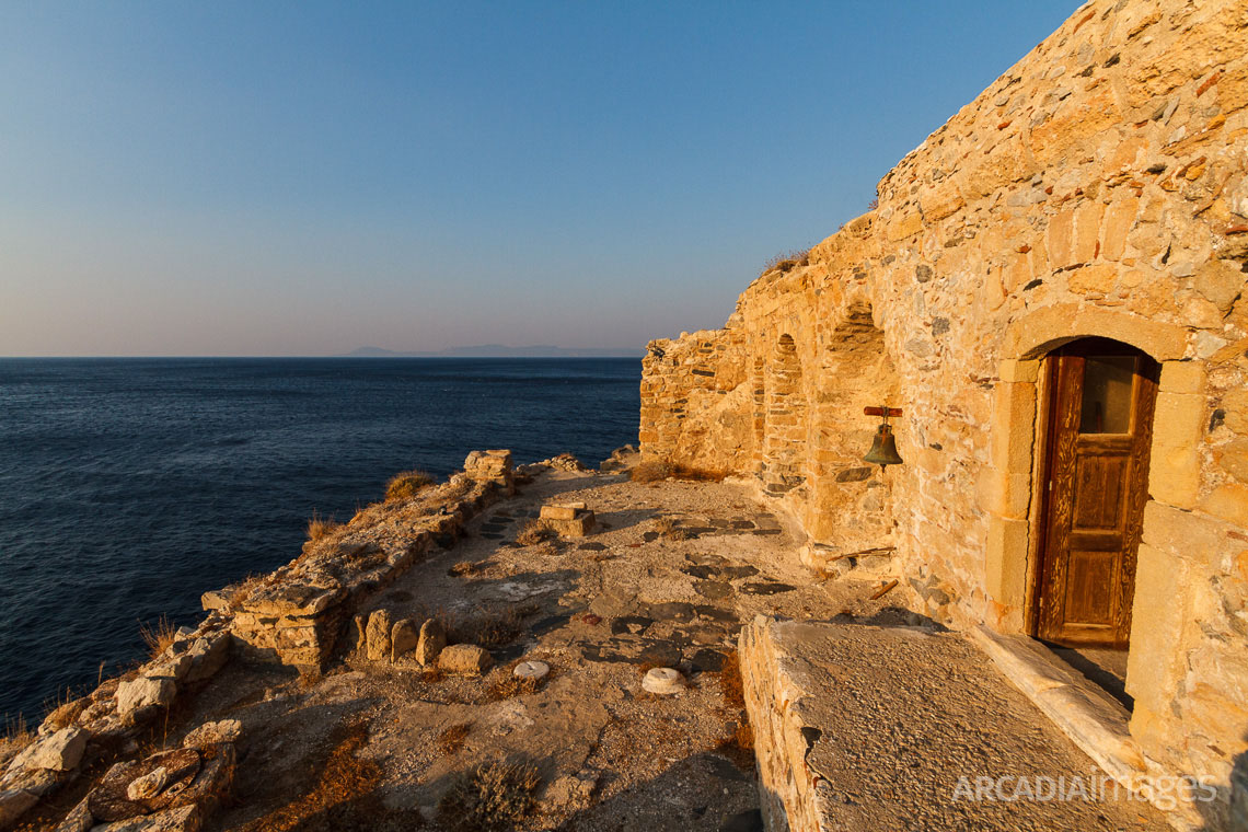 Aghios Georgios (Saint George) church, 13th AD inside the ruins of the old monastery at Cape Malea, Laconia, Peloponnese