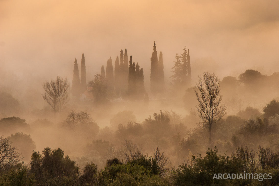 Panagias church and cemetery with morning fog at Pournaria village. Arcadia, Peloponnese, Greece