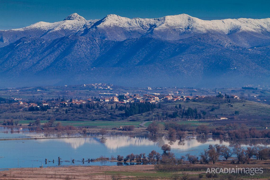 Vouno village over Taka lake. Tegea, Arcadia, Peloponnese, Greece
