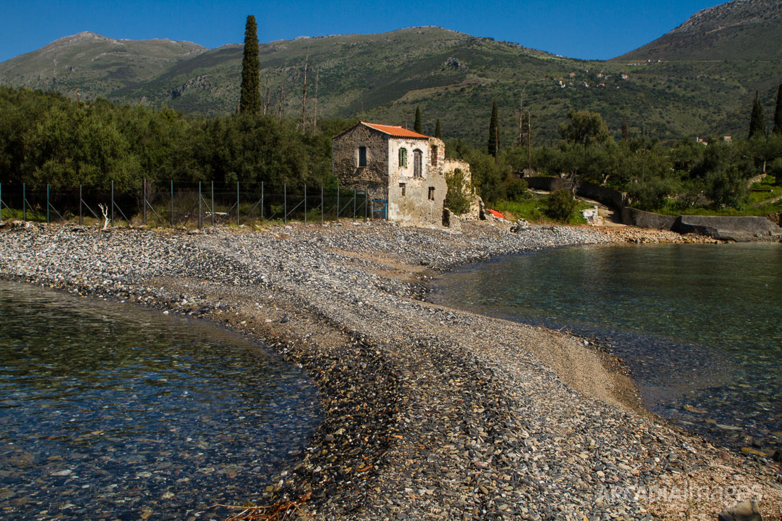 The peninsula that connects Kotronas village with Skopa islet. Here the findings include shells, obsidian stones and burials in jars. Kotronas, East Mani, Laconia, Peloponnese
