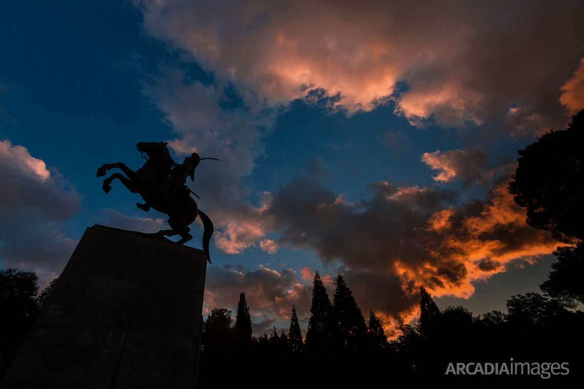 The statue of Theodoros Kolokotronis, General and leader of the Greek War of Independence against the Ottoman Empire. Tripoli, Arcadia, Greece
