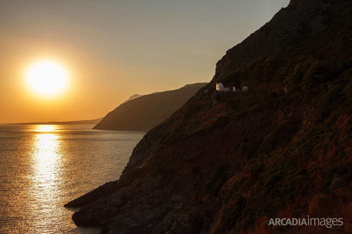 The Aghia Eirini (Saint Irene) monastery at Cape Malea. Laconia, Peloponnese