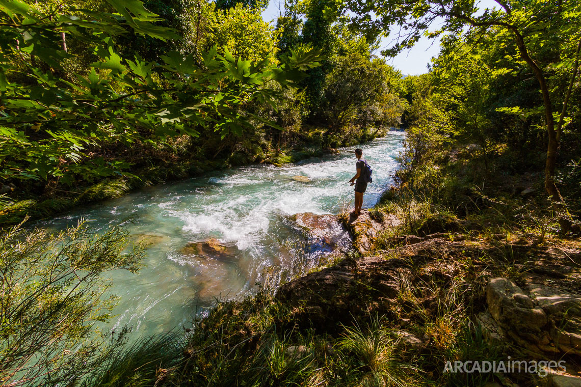 Fishing trout at Lousios river. Arcadia, Peloponnese